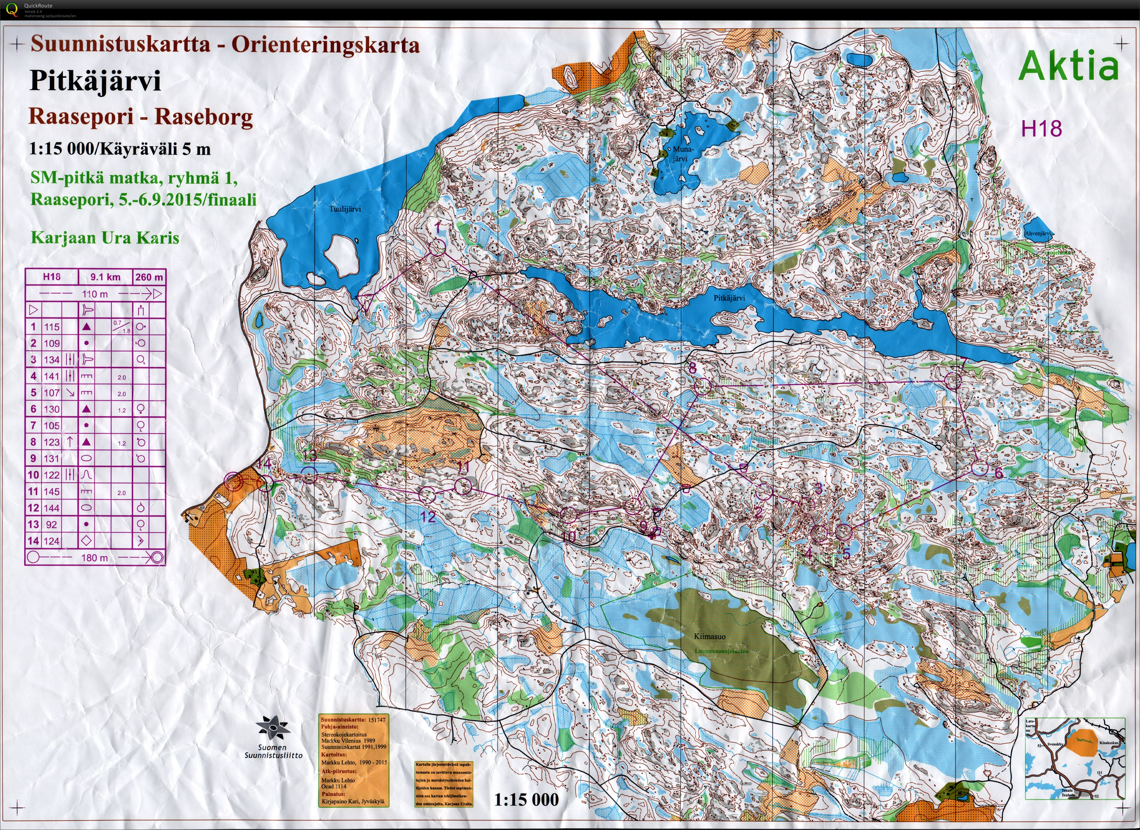 Sm Pitka 2015 September 6th 2015 Orienteering Map From Juho Ylinen